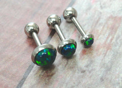 Sapphire Blue Green Fire Opal Stud Cartilage Earring Tragus Helix Piercing You Choose Stone Size
