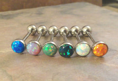 Turquosie Blue Fire Opal Tongue Barbell Piercing