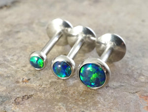 Black Opal 16 Gauge Cartilage Earring (8mm Post) Tragus Monroe Helix Piercing You Choose Stone Size