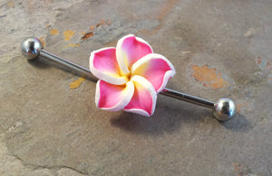 Pink Hawaiian Flower Industrial Bar Barbell Piercing Upper Ear Ring