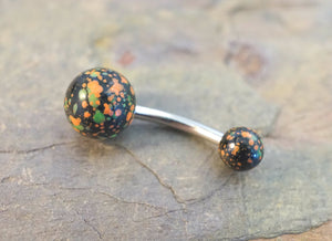 Black Orange Green Splatter Paint Belly Button Ring Jewelry