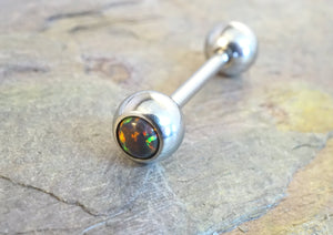Multi Color Fire Opal Tongue Barbell Piercing