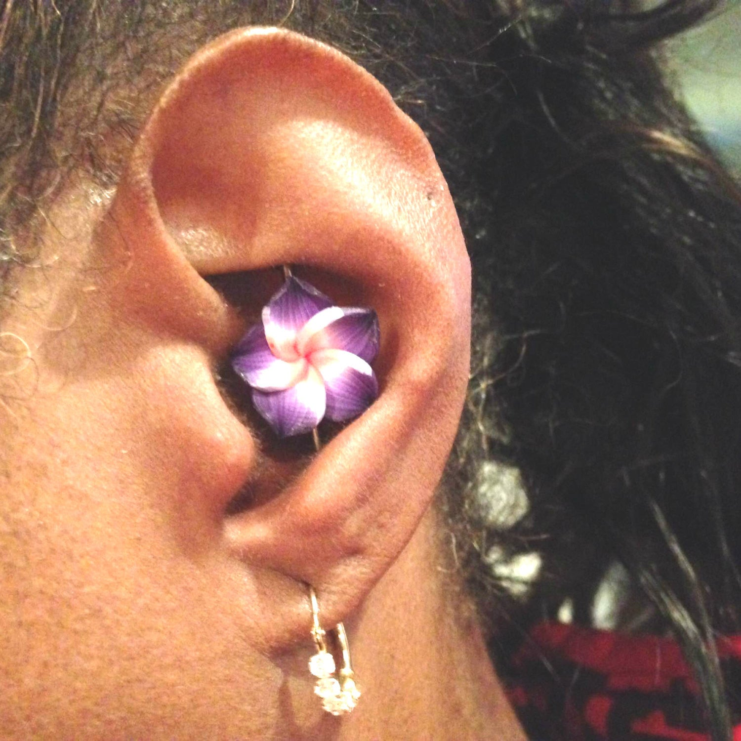 Purple Kawaii Flower Industrial Bar Barbell Piercing Upper Ear