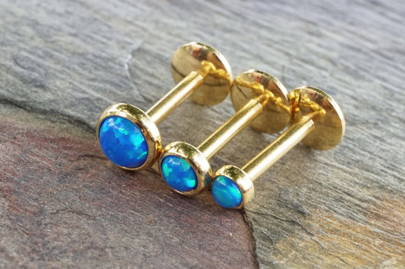 Gold Turquoise Blue Fire Opal 16 Gauge Cartilage Earring Tragus Monroe Helix Piercing You Choose Stone Size