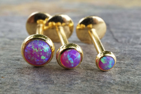 Gold Purple Fire Opal 16 Gauge Cartilage Earring Tragus Monroe Helix Piercing You Choose Stone Size