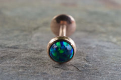 Rose Gold Blue Green Fire Opal 16 Gauge Cartilage Earring Tragus Monroe Helix Piercing You Choose Stone Size