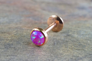 Rose Gold Purple Fire Opal 16 Gauge Cartilage Earring Tragus Monroe Helix Piercing You Choose Stone Size