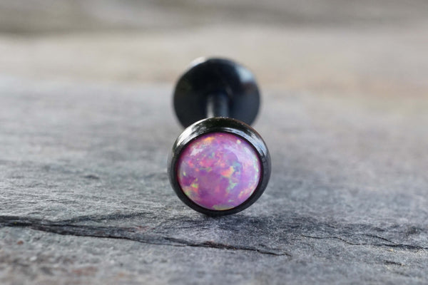 Black IP Pink Fire Opal 16 Gauge Cartilage Earring Tragus Monroe Helix Piercing You Choose Stone Size