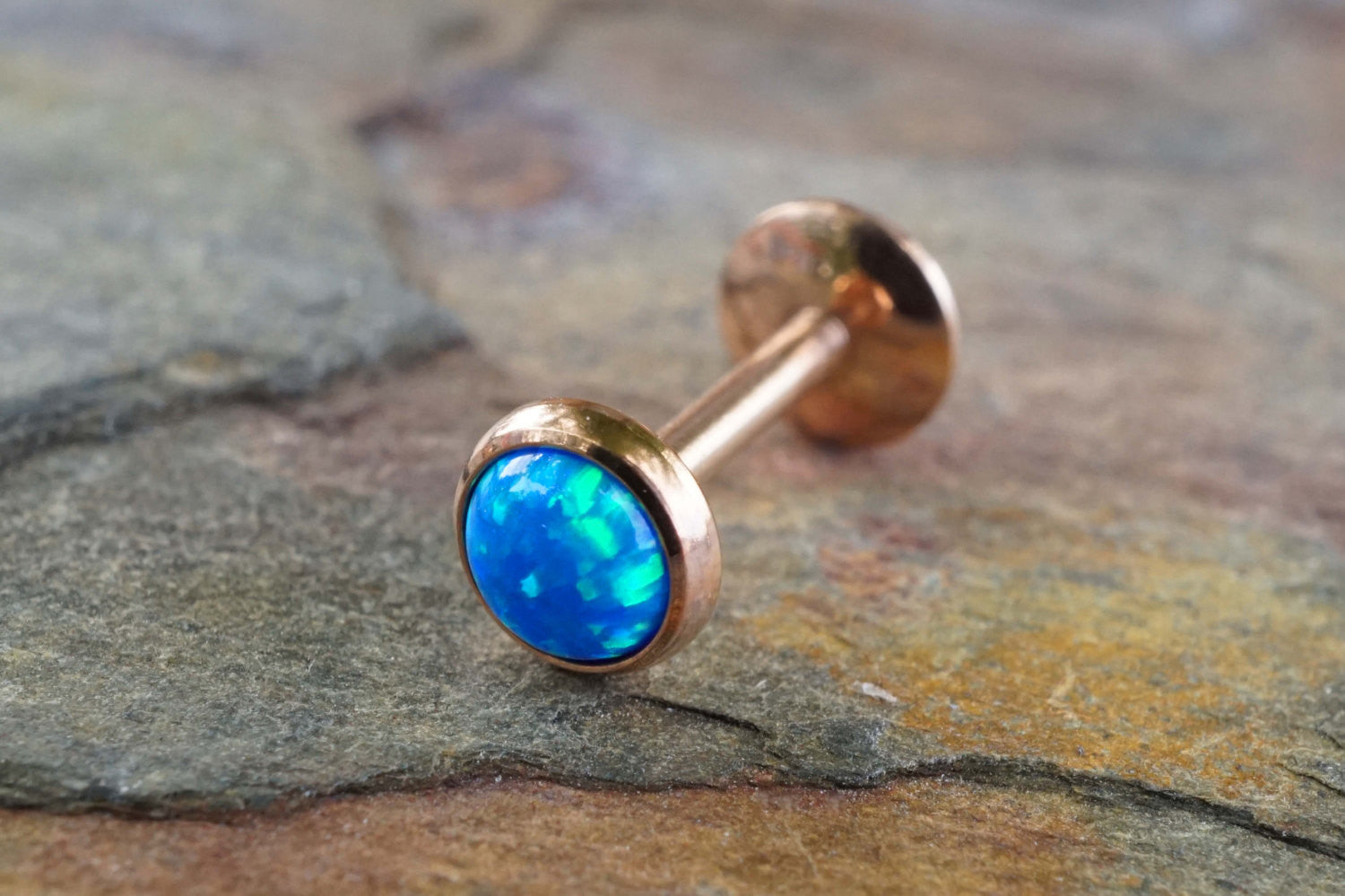3f8522581 Rose Gold Turquoise Blue Fire Opal 16 Gauge Cartilage Earring Tragus M –  Midnights Mojo