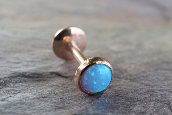 Rose Gold Light Blue Fire Opal 16 Gauge Cartilage Earring Tragus Monroe Helix Piercing You Choose Stone Size