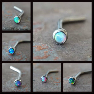 Two 18g Opal Nose Stud Fire Opal Nose Ring