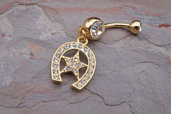 14kt Gold Belly Button Ring Horseshoe and Star