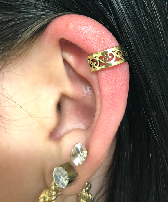 Filigree Gold Ear Cuff Non Pierced No Piercing