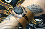 Celestial Leather Cuff Bracelet with Silver Sheen Obsidian