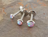 Pink Opal 16 Gauge Cartilage Tragus Earring (8mm Post) Tragus Monroe Helix Piercing You Choose Stone Size