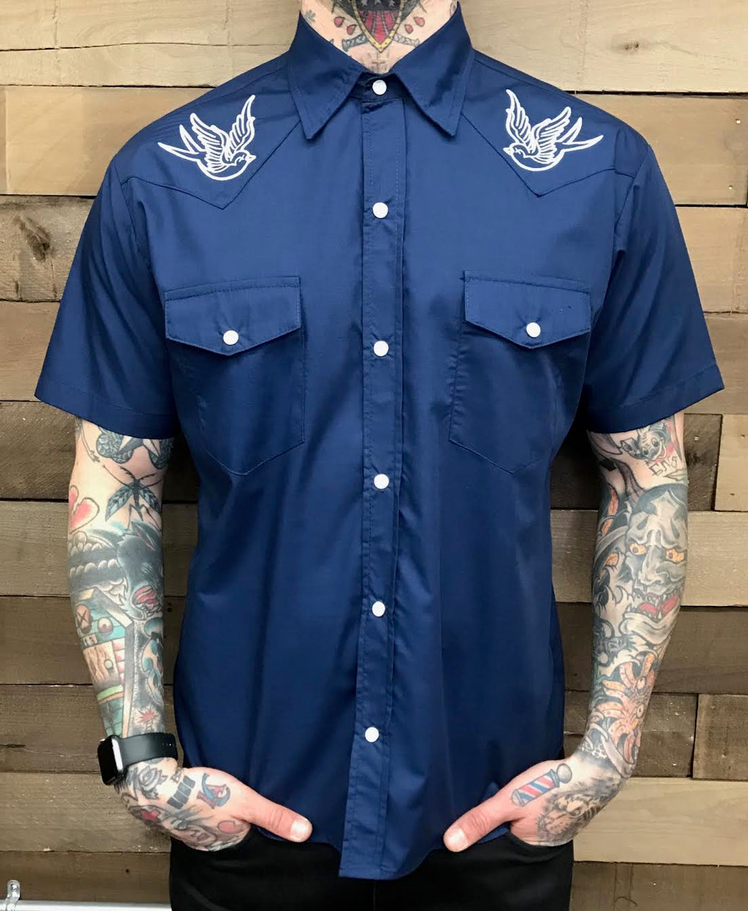 STEADY- NAVY SPARROW BUTTON UP