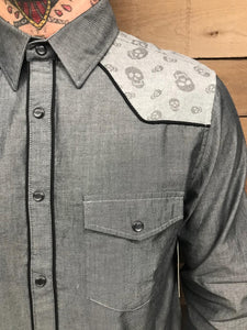 ROCK ROLL N SOUL- SKULL WESTERN BUTTON UP