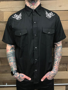 STEADY- SPARROW BLACK BUTTON UP