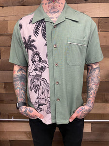 STEADY- HULA BOWLING SHIRT IN GREEN
