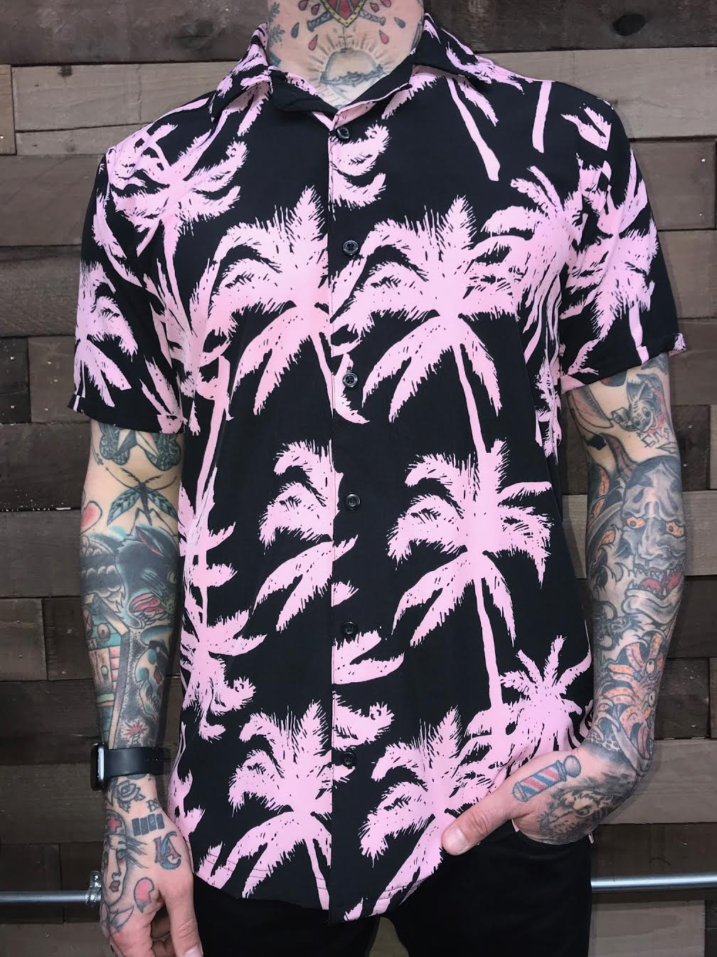 PINK PALM HAWAIIAN SHIRT