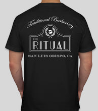 Load image into Gallery viewer, RITUAL MERCH- BLACK TRADITIONAL BARBERING SHIRT