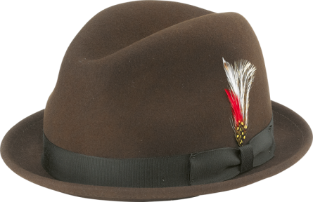 NEW YORK HAT- STINGY FEDORA- BROWN