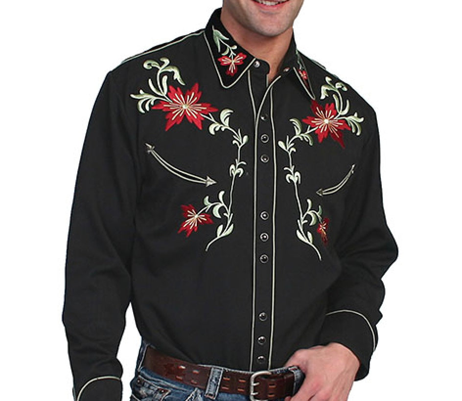 SCULLY- FLORAL EMBROIDERY- BLACK