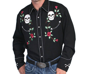 SCULLY- SKULL & ROSES EMBROIDERED WESTERN