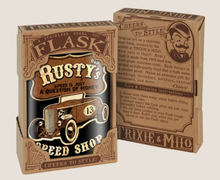 Load image into Gallery viewer, TRIXIE & MILO- RUSTY'S SPEED SHOP FLASK