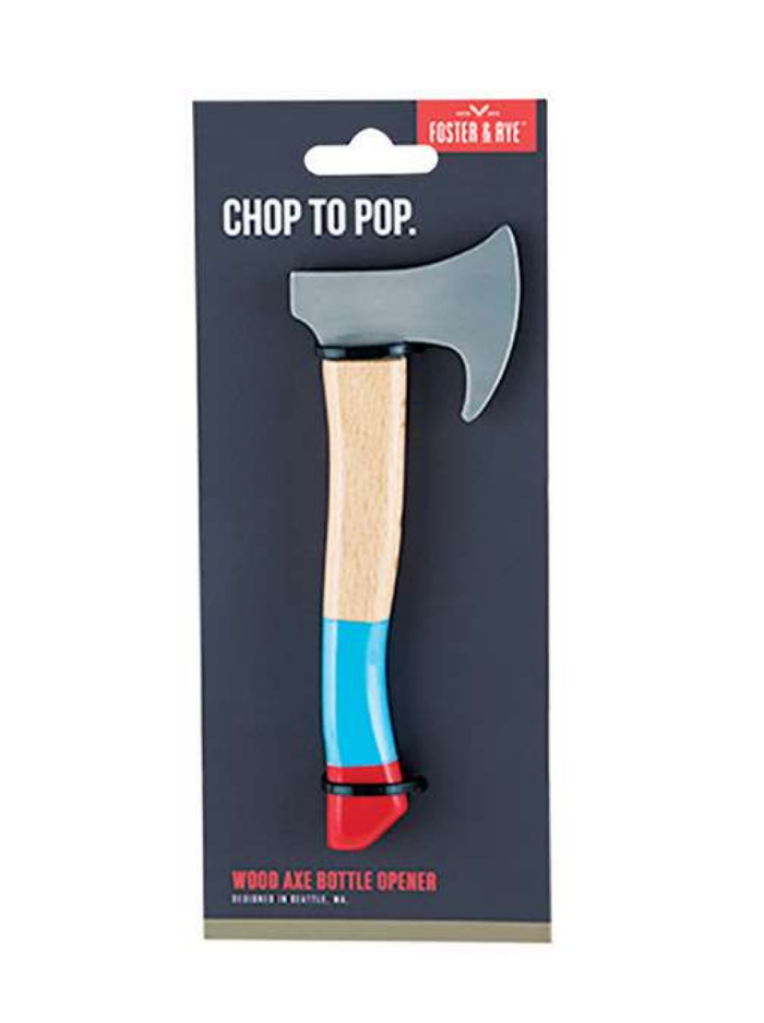 FOSTER & RYE- CHOP TO POP WOOD AXE BOTTLE OPENER