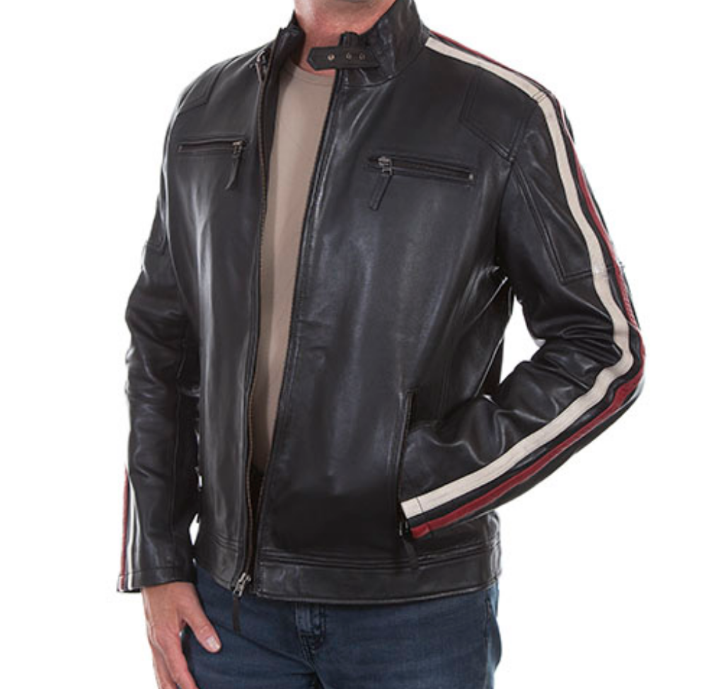 SCULLY LEATHER- RED & WHITE RACE STRIP JACEKT