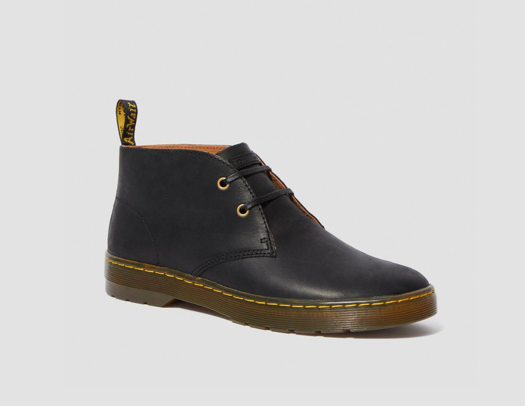 DR MARTENS- CABRILLO BLACK LEATHER BOOTS