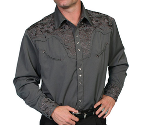 SCULLY- FLORAL TOOLED EMBROIDERY- CHARCOAL