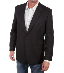 SCULLY- BLACK WESTERN BLAZER W/ BLACK PIPING