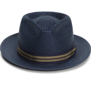 STETSON- NANTUCKET STRAW FEDORA- NAVY
