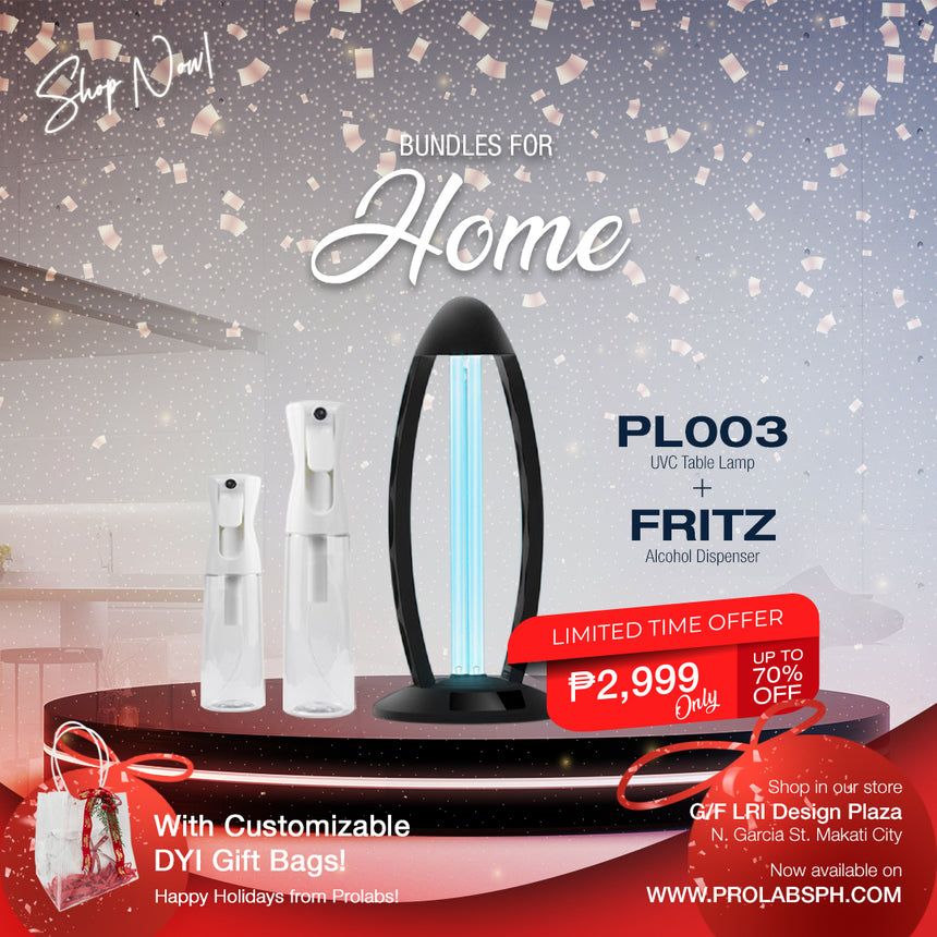 PL003 UVC Lamp +Fritz Alcohol Dispenser in 150 and 300 mL Bundle