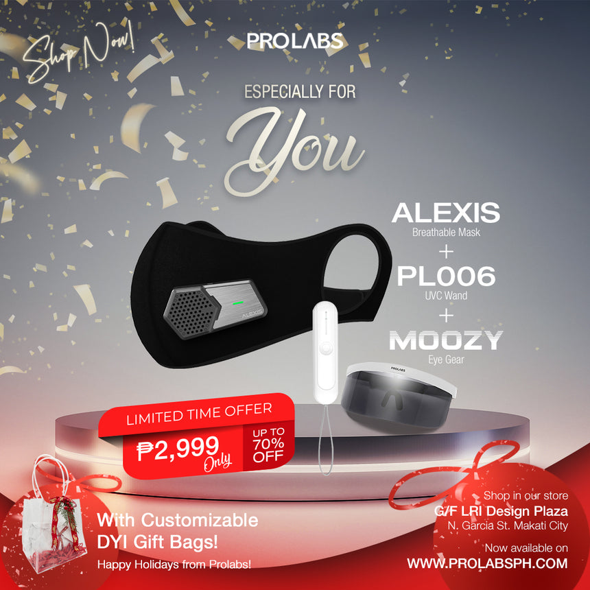 Alexis Breathable Mask + PL006 UVC Wand + Moozy Eye Armor Bundle