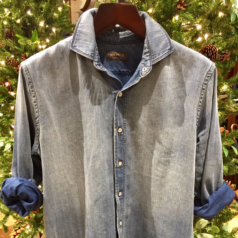 Antique Washed Herringbone Denim Shirt