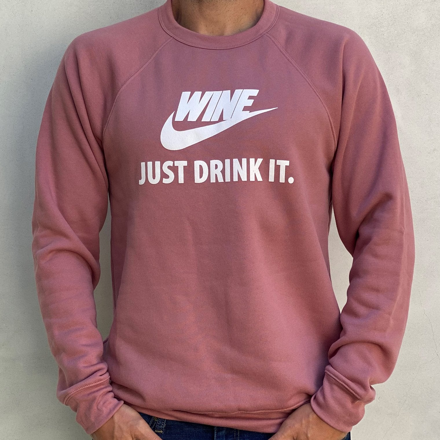GARBER wine just drink it crewneck sweatshirt pink