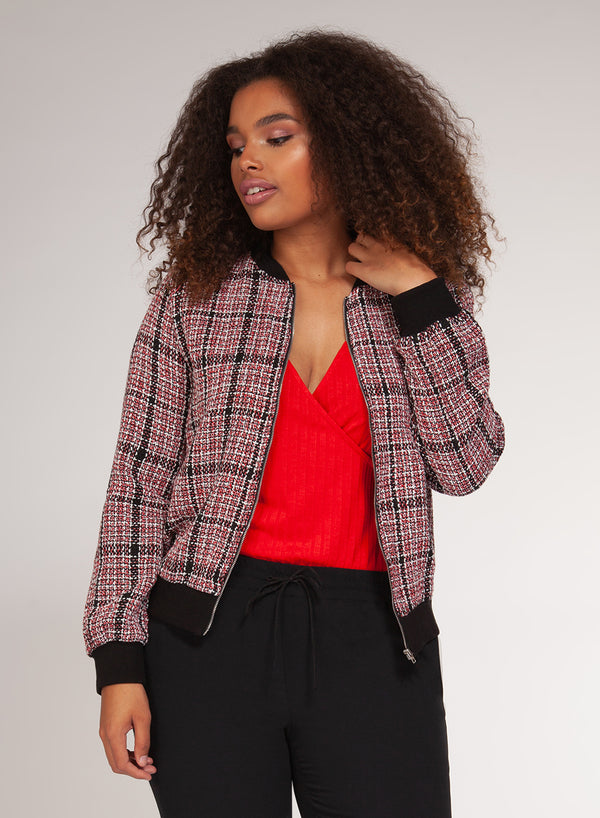 Checkered Tweed Bomber