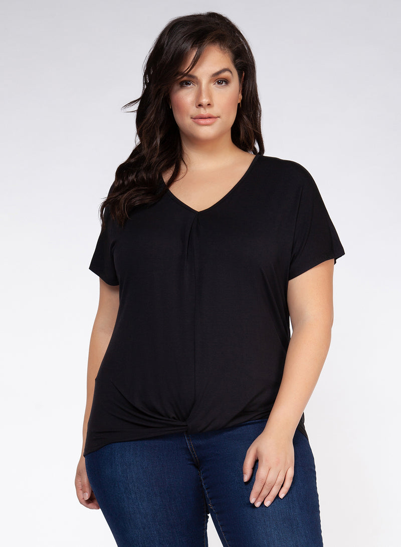 Back In Black Twist Hem Curvy Tee
