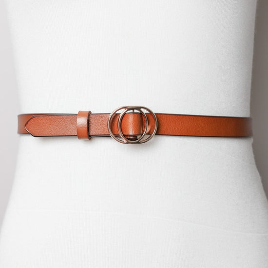 Double Ring Camel Skinny Belt