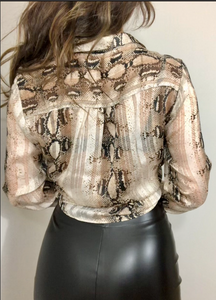 Gold Snake Print Long Sleeve Tie Up