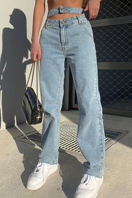 Vintage Wash Womens Jeans with a Strap Waist