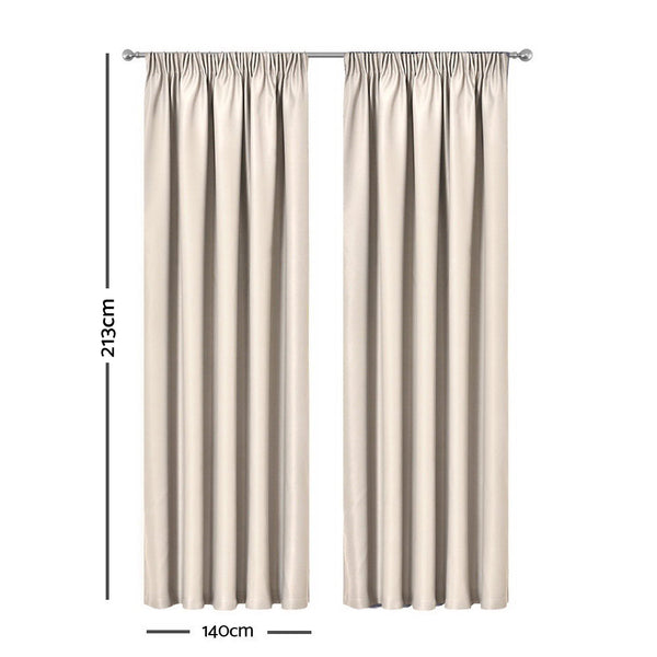Sand - 2X Pinch Pleat Pleated Blockout Curtains 140cmx213cm