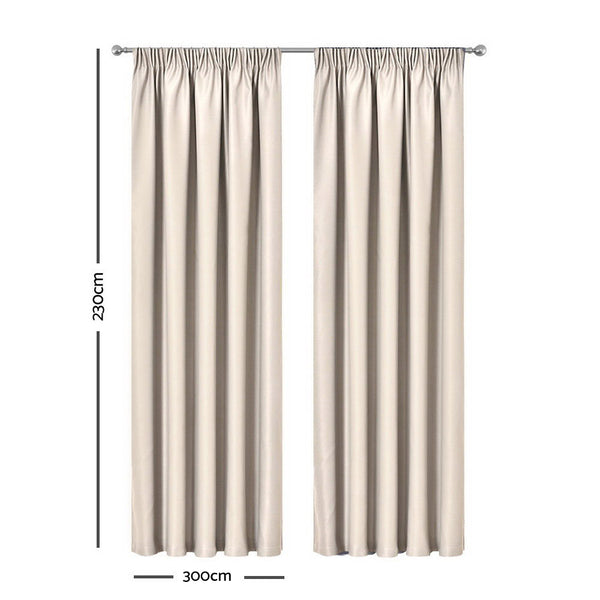 Sand - 2X Pinch Pleat Pleated Blockout Curtains 300cmx230cm