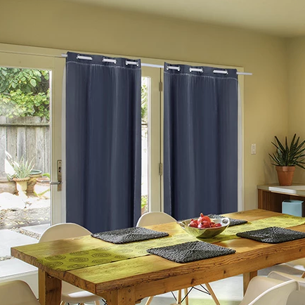 In a Range of Colours - Set of 2 Panel 140x160cm 3 Layer Blockout Curtains With Soft Gauze - Size 9