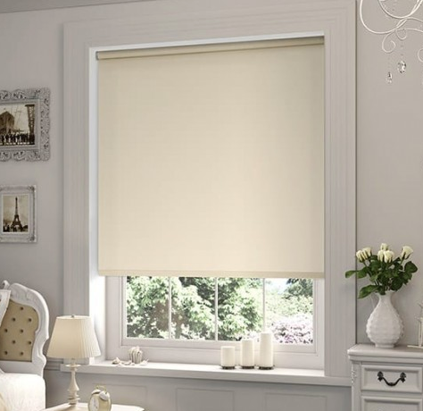 Modern Blackout Roller Blinds Commercial Quality Beige