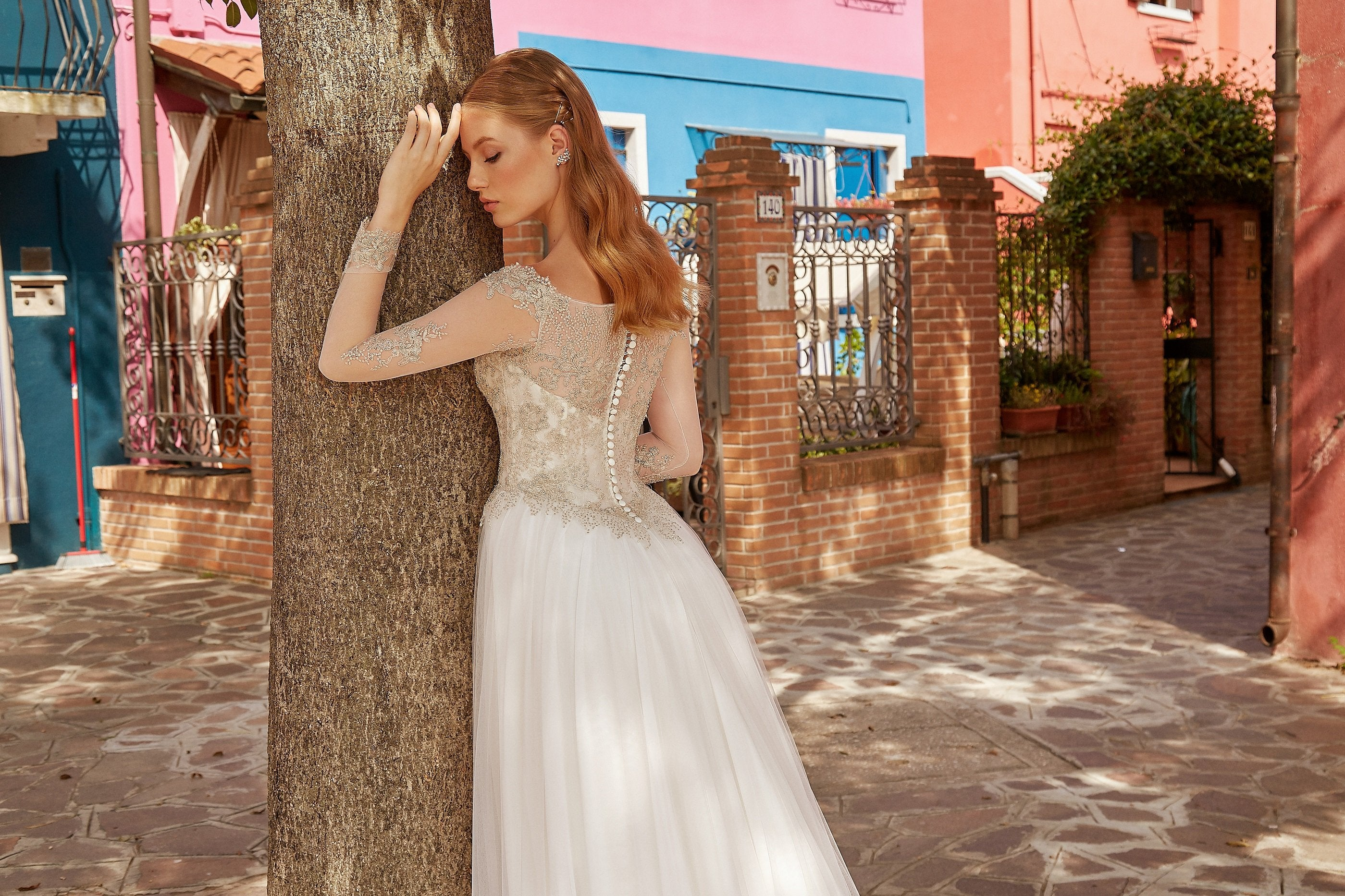 Adriana, Long Sheer Sleeve A-Line Embroidered Wedding Dress with Side Slit Tulle Skirt