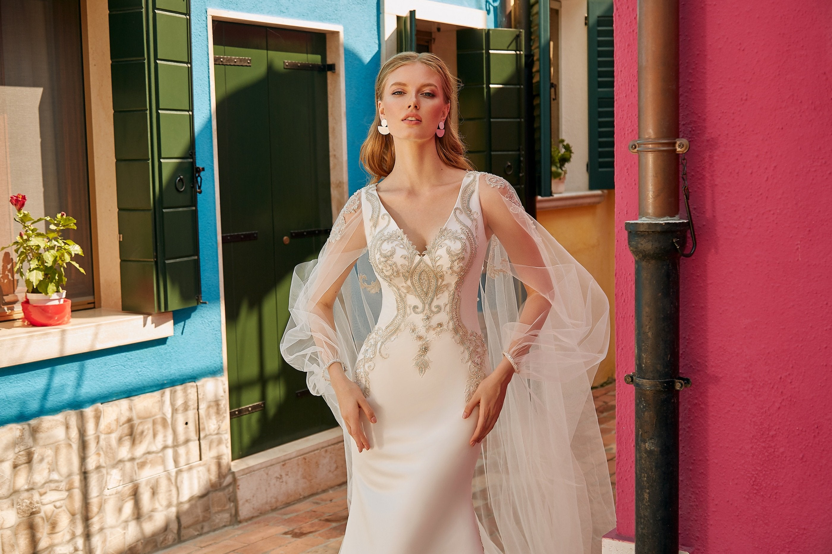 Irene, Modern Crepe Sheath Fitted Wedding Dress with Embroidered V-Neck and Tulle Chapel Length Bridal Cape